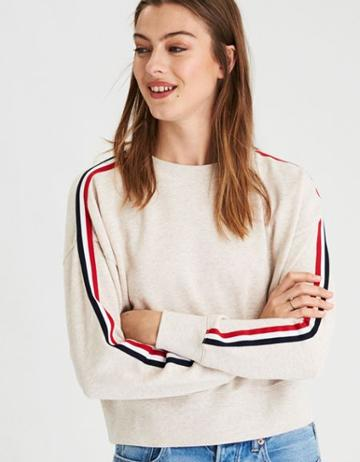American Eagle Outfitters Ae Arm Stripe Crew Neck Sweatshirt