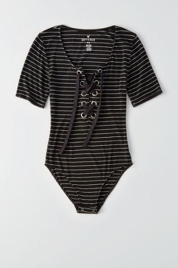 American Eagle Outfitters Ae Soft & Sexy Ribbed Lace-up Bodysuit
