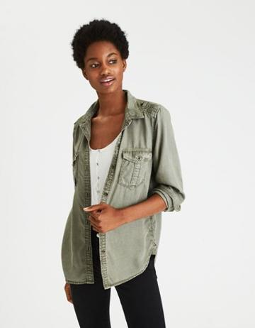 American Eagle Outfitters Ae Boyfriend Button Up Shirt