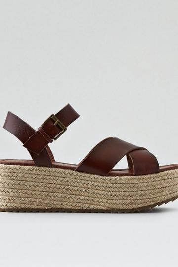 American Eagle Outfitters Ae Cross-strap Flatform Sandal