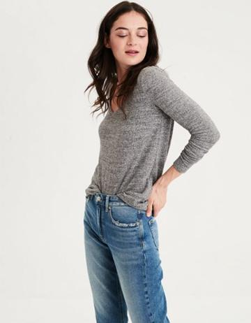 American Eagle Outfitters Ae Soft & Sexy Plush Long Sleeve V-neck T-shirt