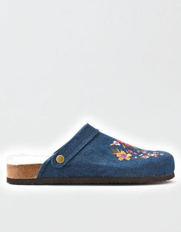 American Eagle Outfitters Ae Embroidered Denim Clog