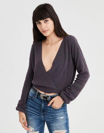 American Eagle Outfitters Ae Cropped Surplice Sweater