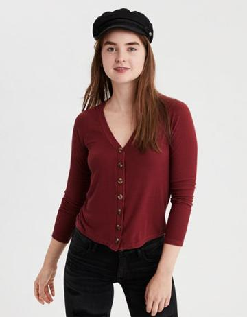 American Eagle Outfitters Ae Slim Fit Button-through T-shirt