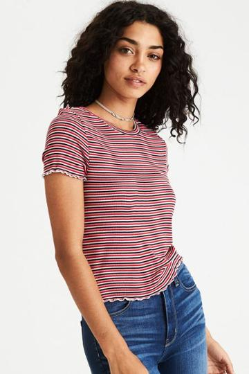 American Eagle Outfitters Ae Soft & Sexy Ribbed Lettuce Edge T-shirt