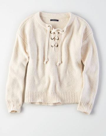 American Eagle Outfitters Ae Chunky Lace-up Pullover Sweater