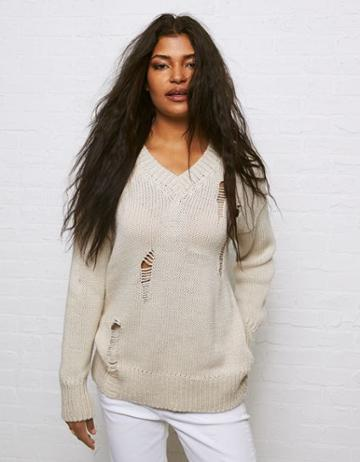 American Eagle Outfitters Don't Ask Why Destroy V-neck Sweater