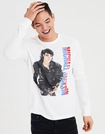 American Eagle Outfitters Ae Michael Jackson Long Sleeve Graphic Tee