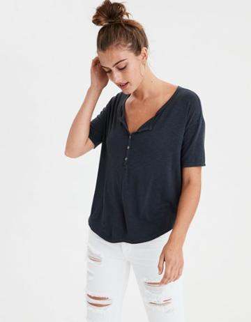 American Eagle Outfitters Ae Button Front T-shirt