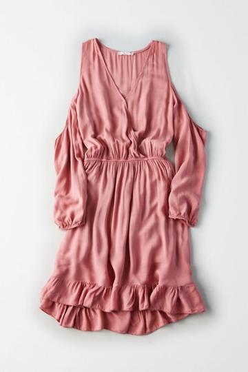 American Eagle Outfitters Don't Ask Why Slit Sleeve Ruffle Dress