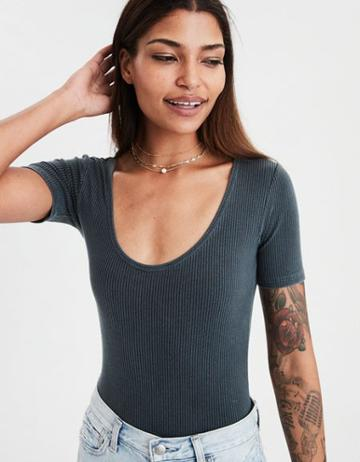 American Eagle Outfitters Ae Soft & Sexy Ribbed Scoop Neck Bodysuit