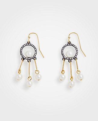 Ann Taylor Circle Pearlized Tassel Drop Earrings