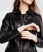 Ann Taylor Ruffle Leather Jacket