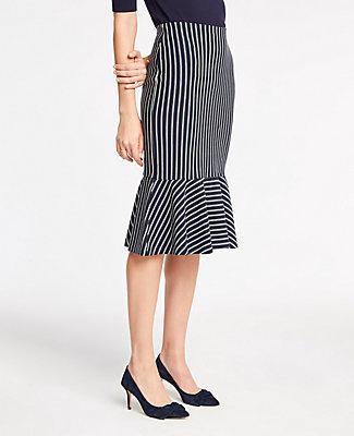 Ann Taylor Pinstripe Flounce Hem Knit Pencil Skirt