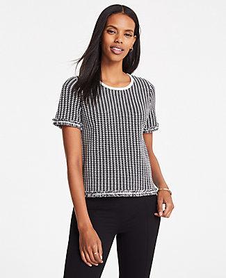 Ann Taylor Houndstooth Crew Neck Short Sleeve Fringe Sweater