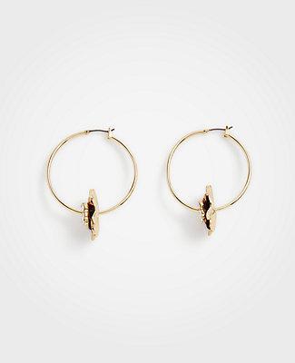 Ann Taylor Floral Statement Hoop Earrings