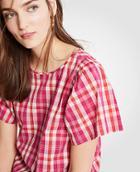 Ann Taylor Gingham Flutter Sleeve Top