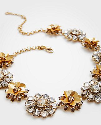Ann Taylor Sequin Floral Crystal Necklace