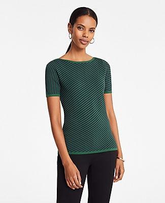 Ann Taylor Diagonal Stripe Boatneck Sweater