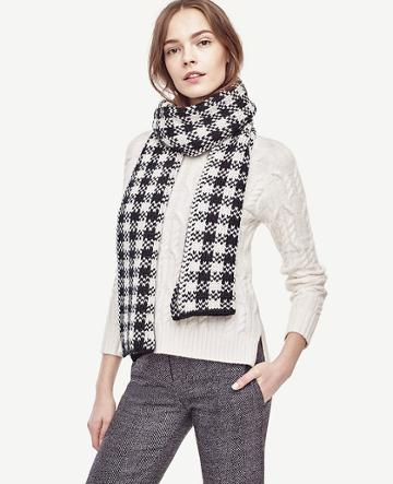 Ann Taylor Houndstooth Sweater Scarf
