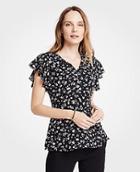Ann Taylor Floral Flutter Sleeve Peplum Top