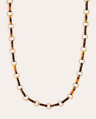 Ann Taylor Tortoiseshell Print Bar Station Necklace