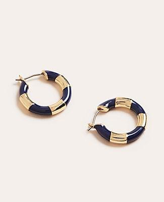 Ann Taylor Striped Enamel Link Hoop Earrings