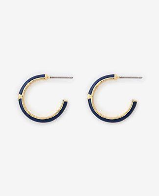 Ann Taylor Navy Enamel Hoop Earrings
