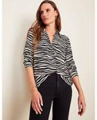 Ann Taylor Zebra Print Camp Shirt