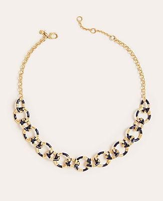 Ann Taylor Striped Enamel Link Necklace