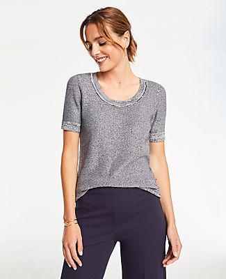 Ann Taylor Spacedye Short Sleeve Sweater