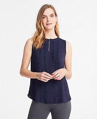 Ann Taylor Scalloped Lace Trim Shell