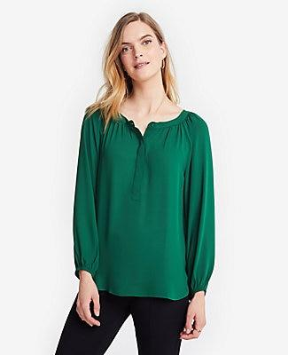 Ann Taylor Shirred Popover Blouse