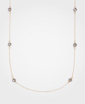 Ann Taylor Gunmetal Circle Station Necklace