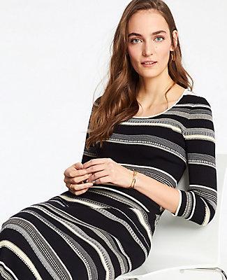Ann Taylor Striped Scoop Neck Sweater Dress