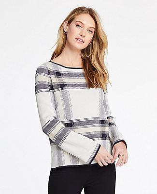 Ann Taylor Plaid Jacquard Bell Sleeve Sweater