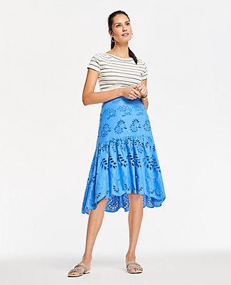 Ann Taylor Eyelet Flounce Skirt