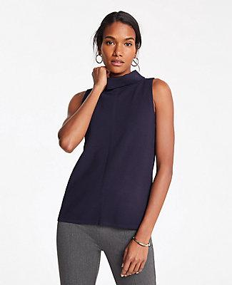 Ann Taylor Tipped Cowl Neck Shell