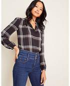 Ann Taylor Plaid Collared Popover