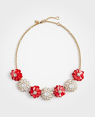 Ann Taylor Crystal Floral Statement Necklace