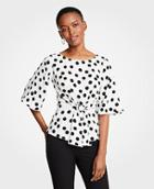 Ann Taylor Dotted Tie Waist Flare Sleeve Top