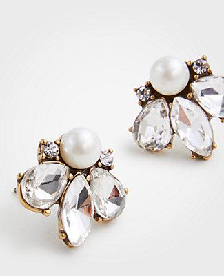 Ann Taylor Crystal Pearlized Stud Earrings