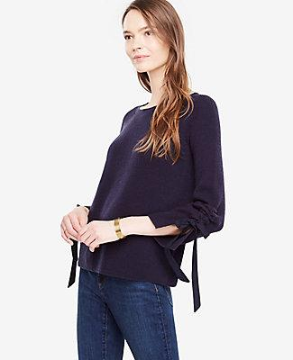 Ann Taylor Tie Sleeve Sweater