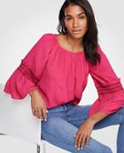 Ann Taylor Smocked Flare Sleeve Blouse