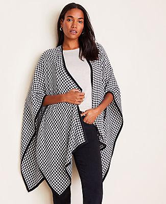 Ann Taylor Houndstooth Open Poncho