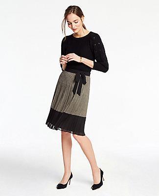 Ann Taylor Check Tie Waist Pleated Skirt