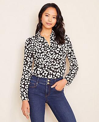 Ann Taylor Cheetah Print Camp Shirt