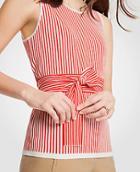 Ann Taylor Stripe Tie Waist Sweater Shell