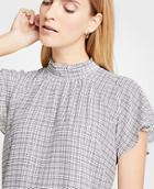 Ann Taylor Checked Mock Neck Flutter Sleeve Top