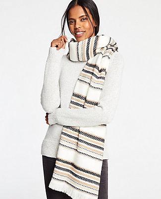Ann Taylor Neutral Stripe Blanket Scarf